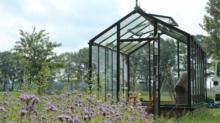Fertig - das neue Highlight des Gartens steht. Jetzt kann das neue Glasgewächshaus bepflanzt werden.